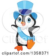 Cute New Year Penguin Dancing In A Blue Top Hat And Sash