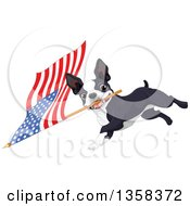 Clipart Of A Cute Boston Terrier Dog Running With An American Flag Royalty Free Vector Illustration