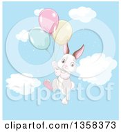 Cute Bunny Rabbit Floating With Party Balloons In The Sky