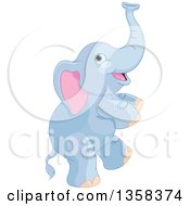 Clipart Of A Cute Blue Baby Elephant Dancing Royalty Free Vector Illustration