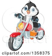 Clipart Of A Cute Penguin Riding A Red Motorcycle Royalty Free Vector Illustration