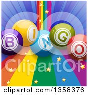 Clipart Of 3d Colorful Bingo Balls Over A Rainbow Curve With Gold Stars And A Blue Burst Royalty Free Vector Illustration