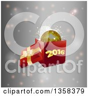 3d Open Gift Box With A Gold Disco Ball And New Year 2016 Over Flares