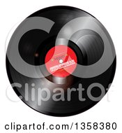 Clipart Of A 3d Music Vinyl Record Album With Merry Christmas On The Label And Light Flares Royalty Free Vector Illustration