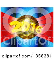 3d Gold Disco Ball With New Year 2016 Over Red Stripes On Blue