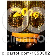 3d Gold 2016 New Year And Blank Ribbon Banner Over Mosaic