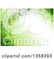 Clipart Of A Green Background With Squares And Halftone Around Text Space Royalty Free Vector Illustration