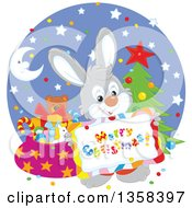 Clipart Of A Gray Rabbit Holding A Merry Christmas Sign Over A Circle With A Tree And Santas Sack Royalty Free Vector Illustration