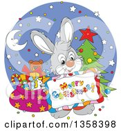 Clipart Of A Cartoon Gray Bunny Rabbit Holding A Merry Christmas Sign Over A Circle With A Tree And Santas Sack Royalty Free Vector Illustration by Alex Bannykh