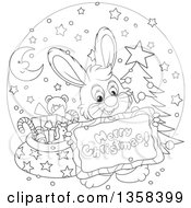 Clipart Of A Cartoon Black And White Bunny Rabbit Holding A Merry Christmas Sign Over A Circle With A Tree And Santas Sack Royalty Free Vector Illustration