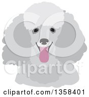 Clipart Of A Happy Gray Panting Toy Poodle Dog Royalty Free Vector Illustration by Maria Bell