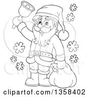 Clipart Of A Cartoon Black And White Christmas Santa Claus Ringing A Bell Royalty Free Vector Illustration
