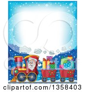 Clipart Of A Cartoon Christmas Santa Claus Driving A Train Full Of Gifts Over Snowy Mountains With Bright Text Space Royalty Free Vector Illustration by visekart