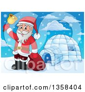 Clipart Of A Cartoon Christmas Santa Claus Ringing A Bell By An Igloo Royalty Free Vector Illustration by visekart