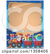 Clipart Of A Cartoon Christmas Santa Claus Driving A Train Full Of Gifts Over Mountains With A Parchment Scroll Royalty Free Vector Illustration by visekart