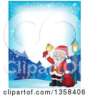 Clipart Of A Cartoon Christmas Santa Claus Ringing A Bell Border Over Snowy Mountains Royalty Free Vector Illustration