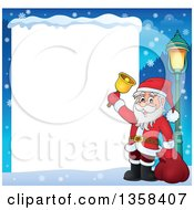 Clipart Of A Cartoon Christmas Santa Claus Ringing A Bell Border Over Snow And A Blank White Sign Royalty Free Vector Illustration