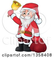 Clipart Of A Cartoon Christmas Santa Claus Ringing A Bell Royalty Free Vector Illustration