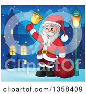 Clipart Of A Cartoon Christmas Santa Claus Ringing A Bell In A Village At Night Royalty Free Vector Illustration