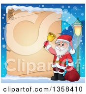 Clipart Of A Cartoon Christmas Santa Claus Ringing A Bell Border Over Snow And A Parchment Scroll Page Royalty Free Vector Illustration
