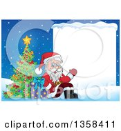 Cartoon Christmas Santa Claus Sitting By A Tree And Gift Presenting A Blank Sign In The Snow