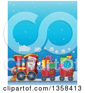 Clipart Of A Cartoon Christmas Santa Claus Driving A Train Full Of Gifts Over A Snowy Night Sky Royalty Free Vector Illustration