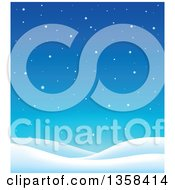 Clipart Of A Snowy Winter Night Background With Hills Royalty Free Vector Illustration