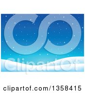 Clipart Of A Snowy Winter Night Background Royalty Free Vector Illustration by visekart