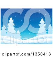 Clipart Of A Snowy Winter Night Background With Silhouetted Evergreen Trees Royalty Free Vector Illustration
