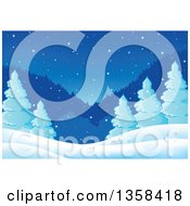 Clipart Of A Snowy Winter Night Background With Evergreen Trees And Mountains Royalty Free Vector Illustration