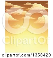 Clipart Of A Background Of A Golden Sunset Sky With Puffy Clouds Royalty Free Vector Illustration