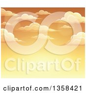 Clipart Of A Background Of A Golden Sunset Sky With Clouds Royalty Free Vector Illustration