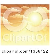 Clipart Of A Background Of A Golden Sunset Sun Shining In The Sky With Puffy Clouds Royalty Free Vector Illustration