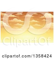 Clipart Of A Background Of A Golden Sunset Sky With Flares And Puffy Clouds Royalty Free Vector Illustration