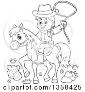 Clipart Of A Cartoon Black And White Cowboy Swinging A Lasso On Horseback Royalty Free Vector Illustration