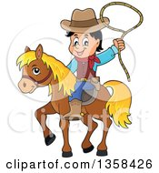 Clipart Of A Cartoon Cowboy Swinging A Lasso On Horseback Royalty Free Vector Illustration by visekart
