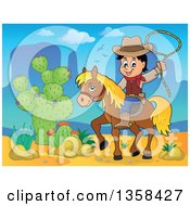 Cartoon Cowboy Swinging A Lasso On Horseback In A Desert