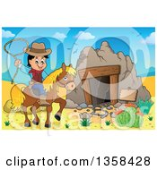 Cartoon Cowboy Swinging A Lasso On Horseback By An Old Mining Cave In The Desert