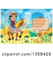 Cartoon Cowboy Swinging A Lasso On Horseback By A Blank Sign In The Desert