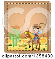 Clipart Of A Parchment Page With A Cartoon Cowboy Swinging A Lasso On Horseback In A Desert Royalty Free Vector Illustration