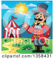 Clipart Of A Cartoon Circus Ringmaster Man Waving Near A Big Top Tent On A Sunny Day Royalty Free Vector Illustration