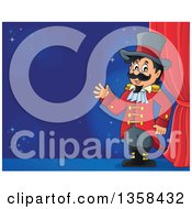 Clipart Of A Cartoon Circus Ringmaster Man Waving By A Curtain On Stage Royalty Free Vector Illustration by visekart