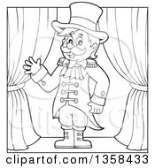 Clipart Of A Cartoon Black And White Circus Ringmaster Man Waving On Stage Royalty Free Vector Illustration