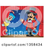 Clipart Of A Cartoon Circus Ringmaster Man Waving By A Clown On Stage Royalty Free Vector Illustration by visekart