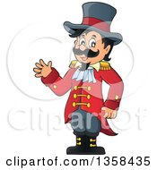 Clipart Of A Cartoon Circus Ringmaster Man Waving Royalty Free Vector Illustration by visekart
