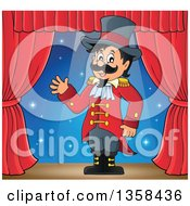 Clipart Of A Cartoon Circus Ringmaster Man Waving On Stage Royalty Free Vector Illustration by visekart