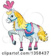 Clipart Of A Cartoon Fancy White Circus Horse Prancing Royalty Free Vector Illustration