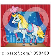 Clipart Of A Cartoon Fancy White Circus Horse Prancing On Stage Royalty Free Vector Illustration