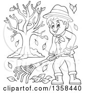 Clipart Of A Cartoon Black And White Happy Man Raking Autumn Leaves In A Yard Royalty Free Vector Illustration by visekart