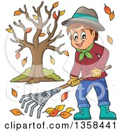 Clipart Of A Cartoon Happy Man Raking Autumn Leaves By A Tree Royalty Free Vector Illustration by visekart